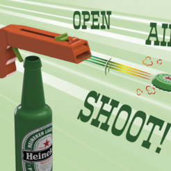 T.png Download free STL file Bottle Opener and Cap GUN! • 3D printable template, 3DED