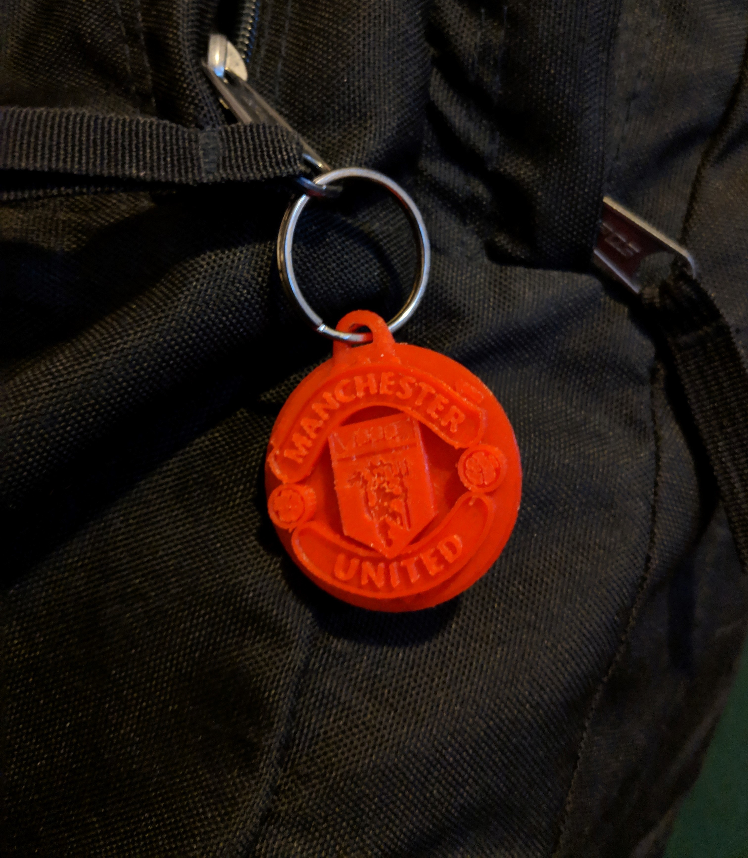 MUFC on backpack.jpg Download free STL file Manchester United FC Keychain • 3D printer object, dbish