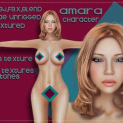 STL Amara character Low-poly 3D model, Elenia