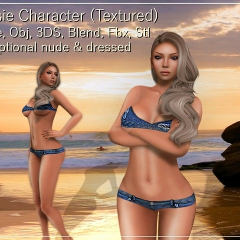 3D printer files Josie female character Low-poly 3D model, Elenia