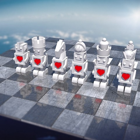 Download free 3D printer designs Bot Chess Set white #Chess, JeremyRonderberg93