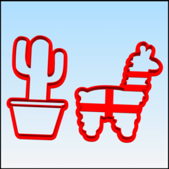 cactuz llama.png Download STL file cactus & called cookie cutter • Object to 3D print, BlackSand3DMaker