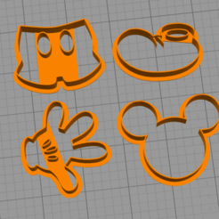 3D print files mickey cookie cutter pack x4, BlackSand3DMaker