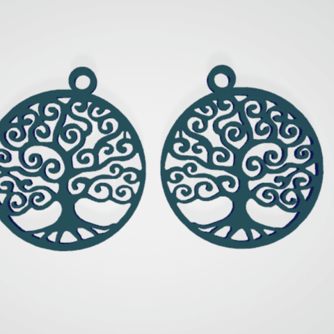 Download free 3D printing templates earrings Tree of life, Nerco7