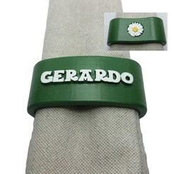 3D printing model Napkin ring GERARDO personalized with daisy, dmitxe