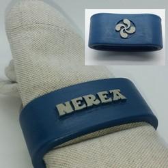 Download 3D printing files Napkin ring NEREA personalized with lauburu, dmitxe