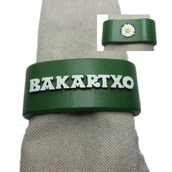Download 3D printer designs Napkin ring BAKARTXO personalized with daisy, dmitxe