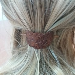 3D printing model Hair clip with stick and daisies, dmitxe