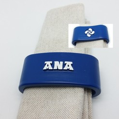 Download 3D printer templates Napkin ring ANA personalized with lauburu, dmitxe
