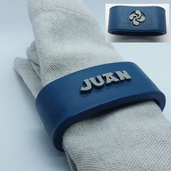 Download 3D printer templates JUAN napkin ring personalized with lauburu, dmitxe