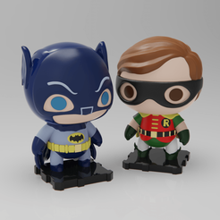 Free 3D printer designs Classic Batman and Robin (1960s TV Show Version), purakito