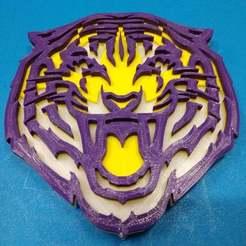 Download free 3D printer designs LSU Multi Color Coaster, jonbourg