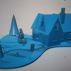3D print files Christmas house scene and pond santa and sleigh snowman and an angel , johnkindon1