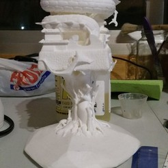 3D printer files Japanese Castle on Tree and Protected by a Dragon, gabasebas