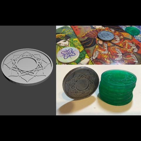 STL file Alternative Hanamikoji tokens/coins, scovron