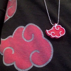 Download free 3D printer designs Akatsuki Cloud Necklace/Keychain, sh0rt_stak