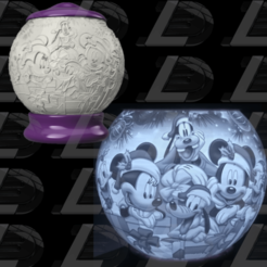 Vignette1.png Télécharger fichier OBJ Mickey Christmas night light lithophane • Objet imprimable en 3D, Ludo3D