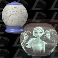 Couverture2.png Télécharger fichier OBJ Frozen (Reine des neiges) spherical night light lithophane • Plan pour impression 3D, Ludo3D