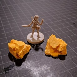 Free 3D printer files Boulders for Gloomhaven - Sculpted (1, 2, 3 Hex), RobagoN