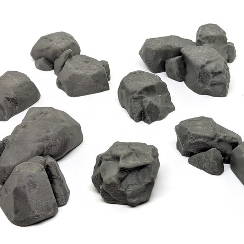 STL files Boulders for Gloomhaven - Flat Top (1, 2, & 3 Hex), RobagoN