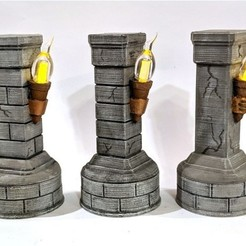 3D printer models Stone Pillar with Flickering Torch, RobagoN