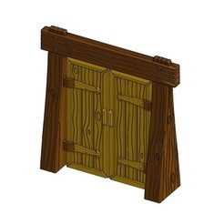 Free 3D model Wood Dungeon Door w/ Straight Header -  Working, RobagoN