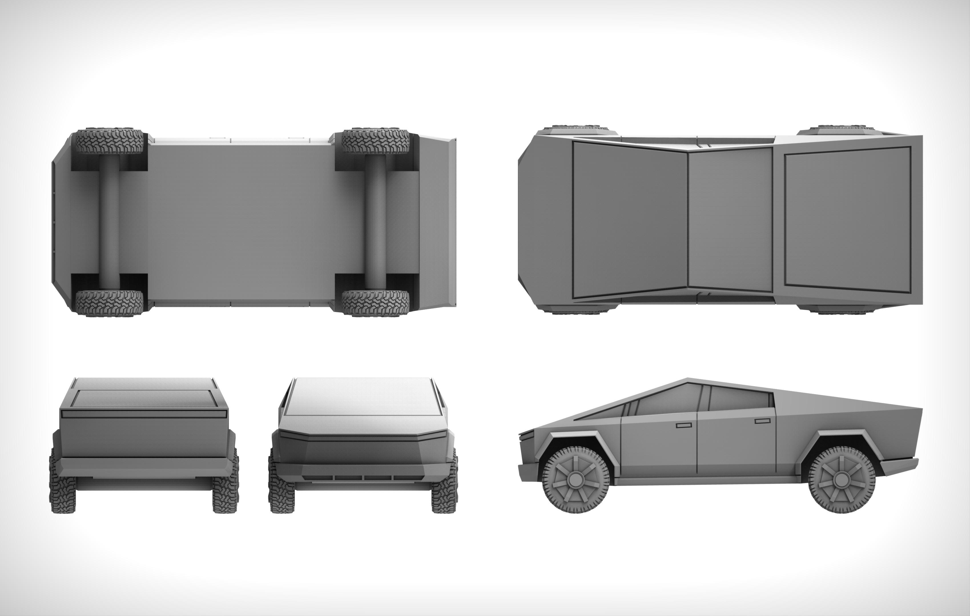 untitled.1093.jpg Download free STL file Tesla Cybertruck 28mm • 3D printing design, BREXIT