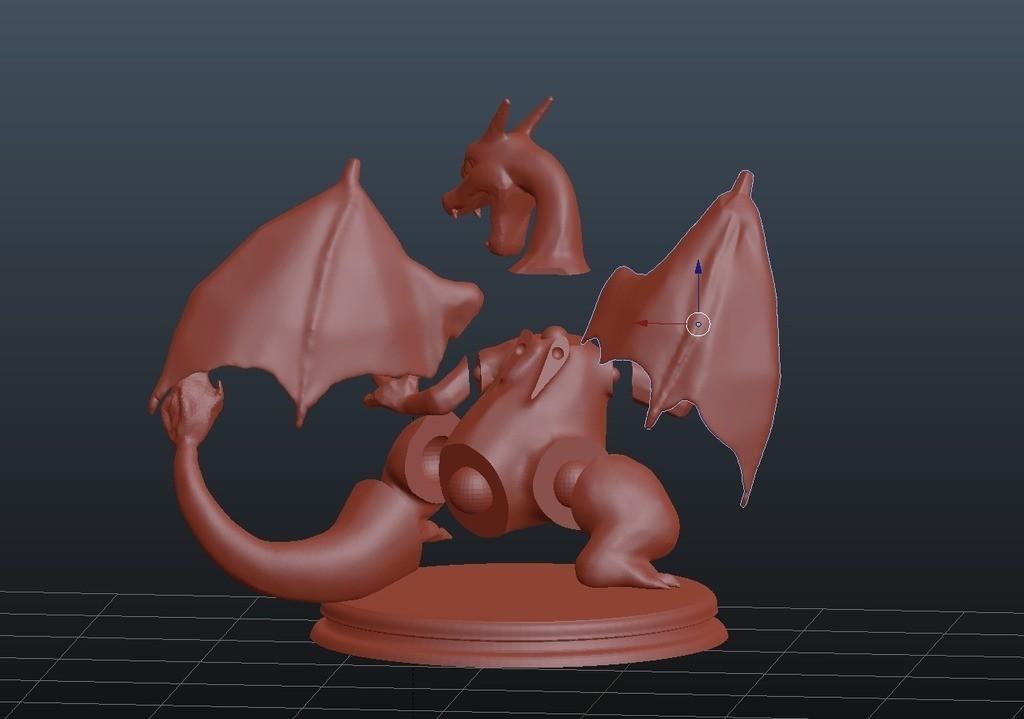 bcf9a4ef71889a4f4d6e10f62e60843b_display_large.jpg Download free STL file Charizard • 3D print model, KerberosFi