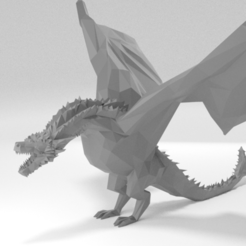 Free 3D printer designs Low poly Drogon, KerberosFi