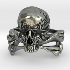 3.jpg Download STL file Star Eyed Skull & Crossbones Ring • Object to 3D print, SpaceCadetDesigns