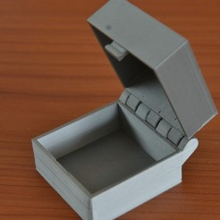 Free 3D printer designs Hinged Box With Latch, Somewhat Parametric and Printable In One Piece, Lurgnarb