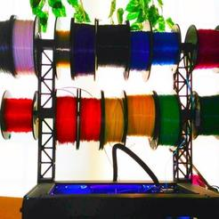 Imprimir en 3D gratis Replicador 2 Soporte de bobina de filamento de montaje superior / Dispensador Cubierta superior, Prunaen3d