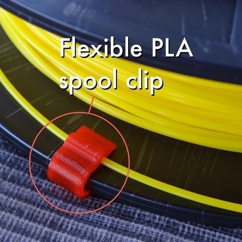 Flexible_PLA_spool_clip_1_display_large.jpg Télécharger fichier STL gratuit Pince flexible en PLA (1.75mm) • Modèle pour impression 3D, Gaenarra