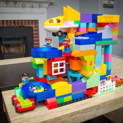 "Download free 3D printing designs Lego Duplo and Hubelino compatible Marble Run ""Finish"" Bowl, FedorSosnin"