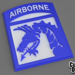 Airborne.png Télécharger fichier STL gratuit Insigne du 18e (XVIIIe) Corps aéroporté • Plan pour imprimante 3D, CustomAndDesign