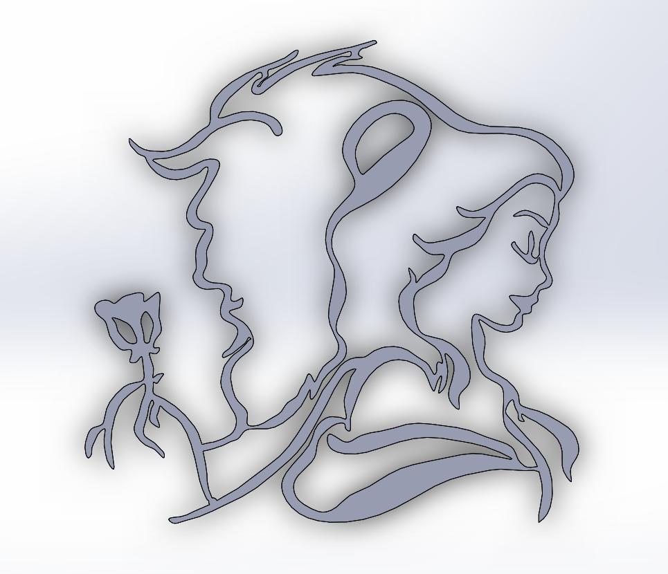 Beauty and the Beast.PNG Télécharger fichier STL gratuit La beauté et la bête • Plan pour impression 3D, Saeid