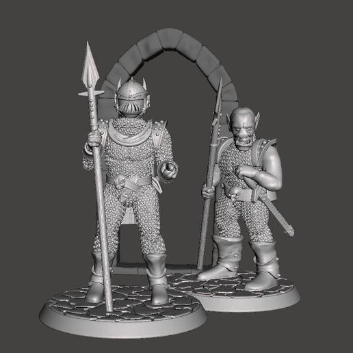Download free 3D printer files 28mm Miniature Black Town / City Guard - Orc / Goblin in Armour, BigMrTong