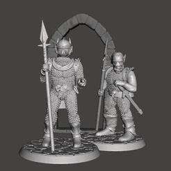 Download free 3D printer files 28mm Miniature Black Town / City Guard - Orc / Goblin in Armour, BigMrTong