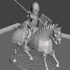 Descargar diseños 3D gratis 28mm Esqueleto Guerrero Caballería Pesada con Espada y Escudo, BigMrTong