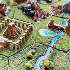 Descargar archivos 3D gratis Azulejos Hexagonales Wargaming / Mighty Empires - Azteca / Lizardman, BigMrTong