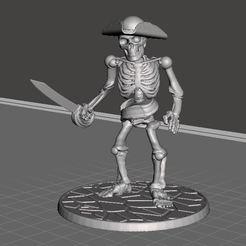 Download free 3D printer model 28mm Skeleton Warrior Pirate Captain, BigMrTong
