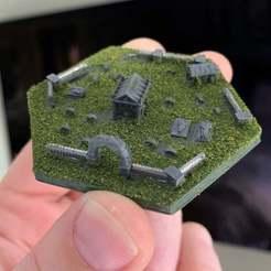 Descargar modelos 3D gratis Azulejos Hexagonales Wargaming / Mighty Empires - Iglesia / Cementerio, BigMrTong