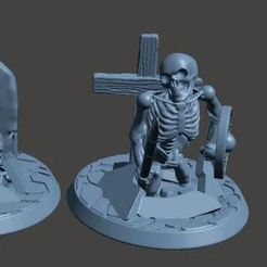 Download free 3D printing templates 28mm Undead Skeleton Warrior - Climbing out of Grave 2, BigMrTong