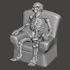 Descargar STL gratis FWW - Fallout Wasteland Warfare Skeleton in Chair, Watching the world burning, BigMrTong