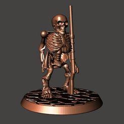 Descargar modelos 3D gratis 28mm Esqueleto No Muerto Guerrero Enano - Armado con Mosquete, BigMrTong