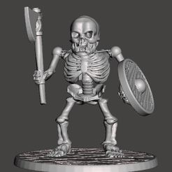 Download free 3D printer designs Orc Skeleton Warrior - Axe & Shield, BigMrTong