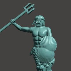 Download free 3D print files 28mm Merman Miniature, BigMrTong
