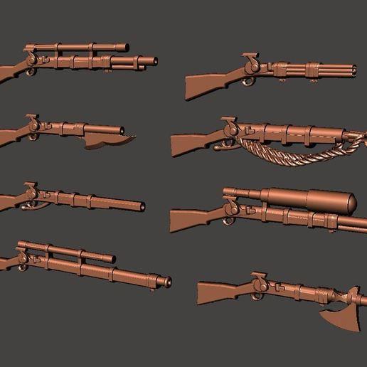Descargar archivos STL gratis Más 28mm Fantasy Arsenal of Muskets Percussion / Flintlock Firearms and Guns, BigMrTong