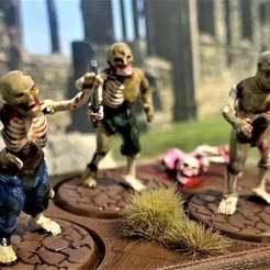 Descargar archivos STL gratis 28mm Zombie - Caminando con los muertos vivientes en miniatura - Ghoul, BigMrTong