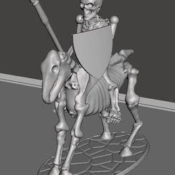 Descargar archivo 3D gratis 28mm Esqueleto Guerrero Caballería Ligera con Lanza y Escudo, BigMrTong